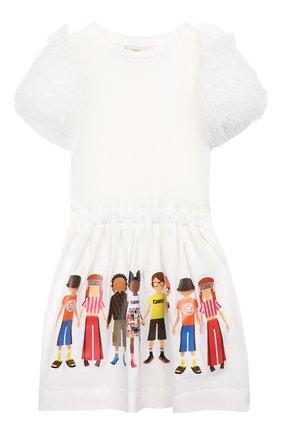 Детское хлопковое платье FENDI белого цвета, арт. JFB326/7AJ/3A-6A | Фото 1