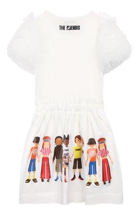 Детское хлопковое платье FENDI белого цвета, арт. JFB326/7AJ/3A-6A | Фото 2