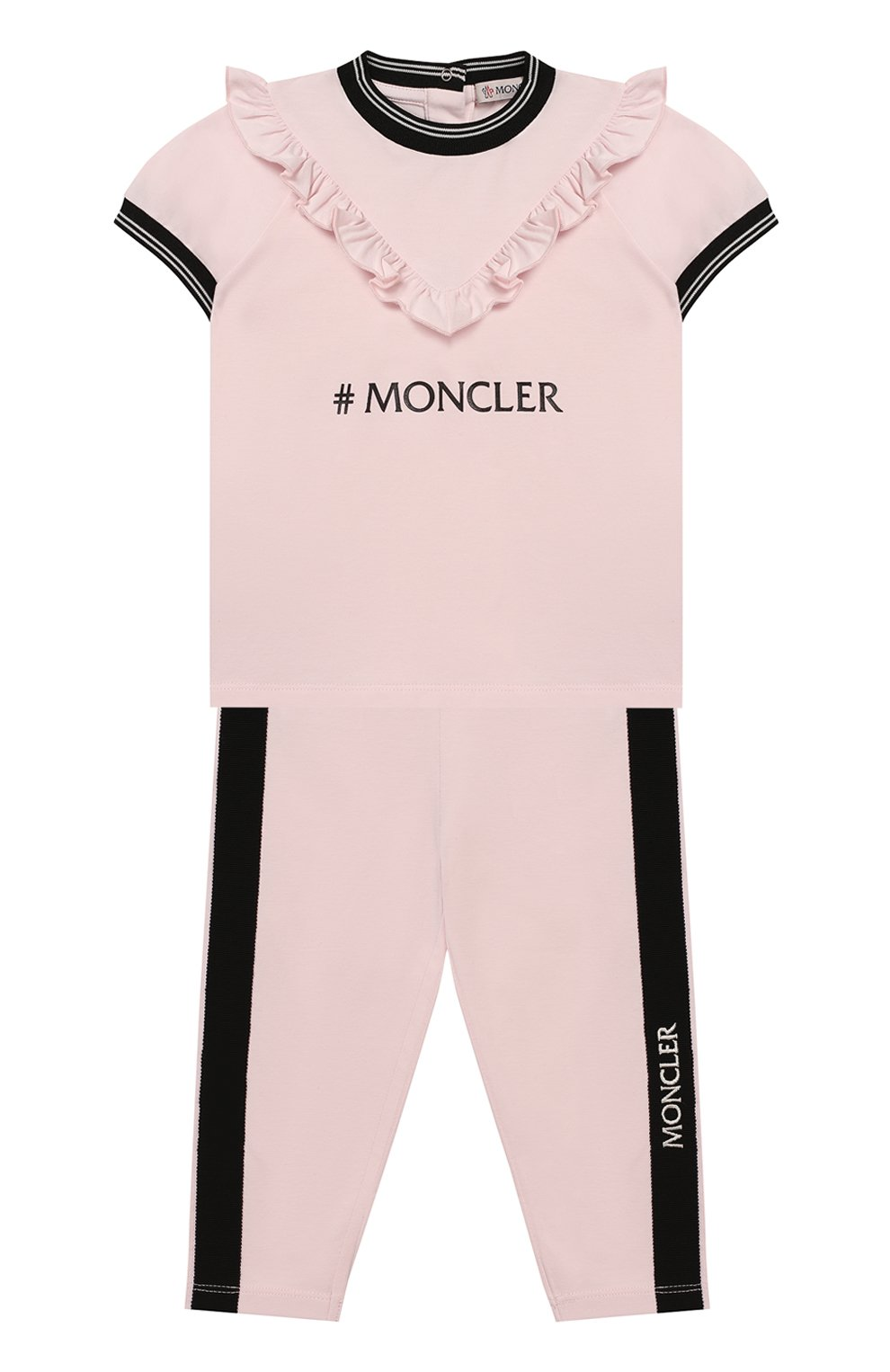 Детский комплект из футболки и брюк MONCLER розового цвета, арт. F1-951-8M710-10-8790A | Фото 1