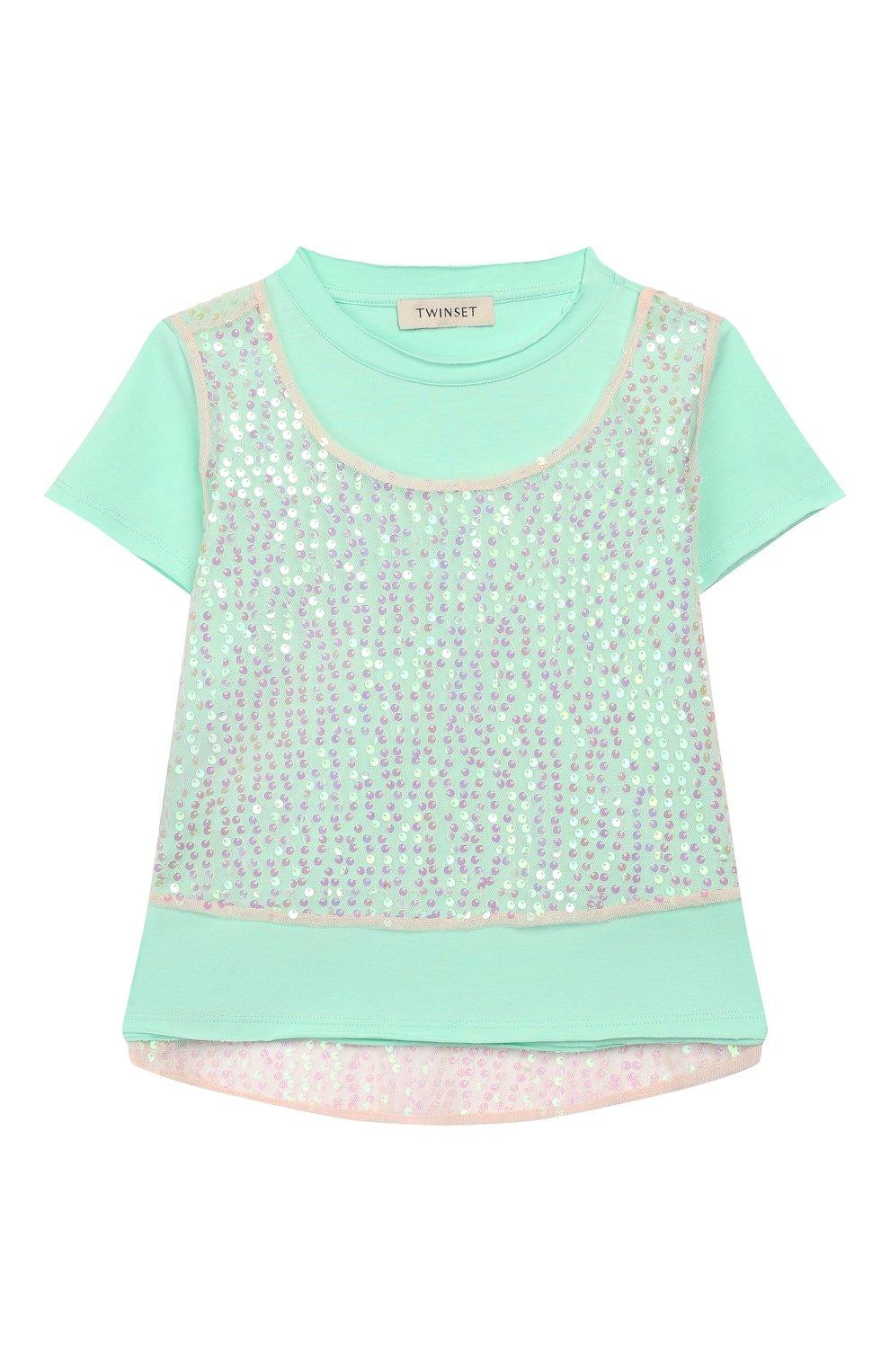 Детская хлопковая футболка TWINSET бирюзового цвета, арт. 201GJ2240/6A-10A   Фото 1