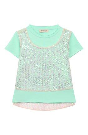 Детская хлопковая футболка TWINSET бирюзового цвета, арт. 201GJ2240/6A-10A | Фото 1