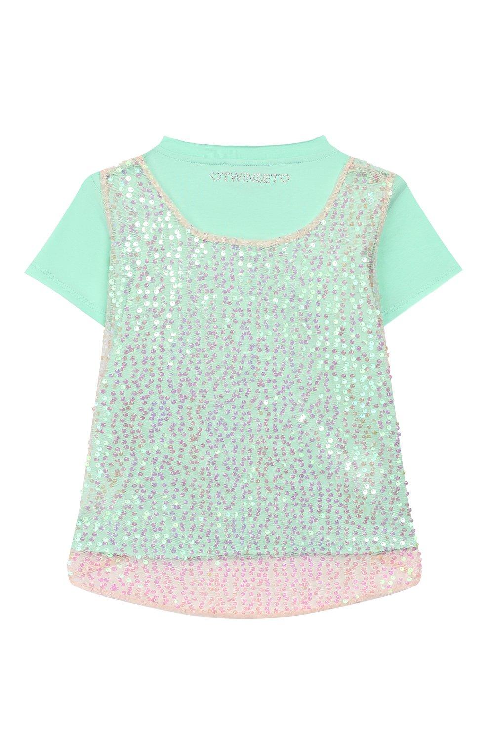 Детская хлопковая футболка TWINSET бирюзового цвета, арт. 201GJ2240/6A-10A   Фото 2
