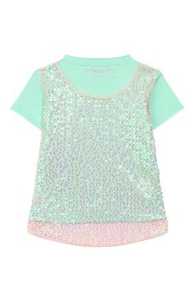 Детская хлопковая футболка TWINSET бирюзового цвета, арт. 201GJ2240/6A-10A | Фото 2