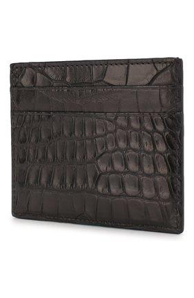 Мужской футляр для кредитных карт из кожи аллигатора ERMENEGILDO ZEGNA черного цвета, арт. E1139E-LHALS/AMIS | Фото 2