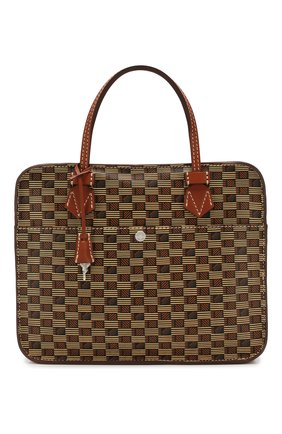 Мужская кожаная сумка для ноутбука MOREAU коричневого цвета, арт. SCAPMMIBVBBFSTB | Фото 1