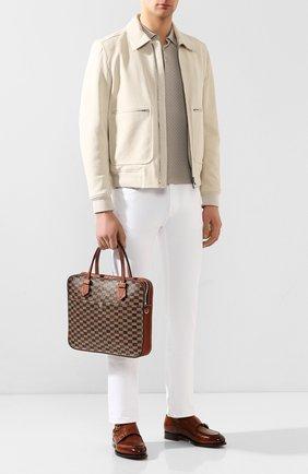 Мужская кожаная сумка для ноутбука MOREAU коричневого цвета, арт. SCAPMMIBVBBFSTB | Фото 2