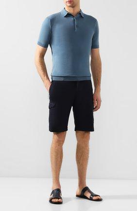 Мужские кожаные шлепанцы TOD'S синего цвета, арт. XXM27C0CY40BR0   Фото 2
