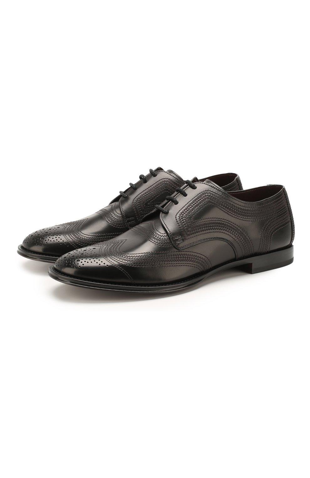 Мужские кожаные дерби marsala DOLCE & GABBANA черного цвета, арт. A10535/AX129 | Фото 1