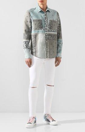 Мужские текстильные кеды AMIRI голубого цвета, арт. Y0F22498CC   Фото 2