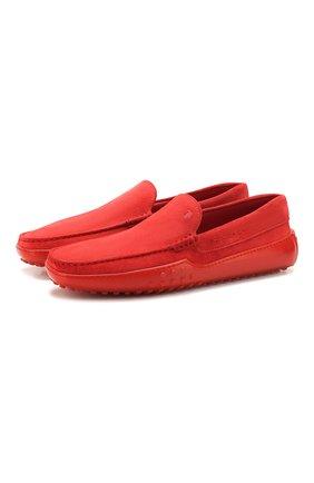 Мужские замшевые мокасины TOD'S красного цвета, арт. XXM24C0S570RE0   Фото 1
