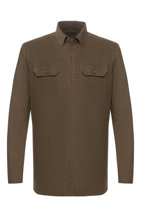 Мужская рубашка из смеси льна и хлопка TOM FORD хаки цвета, арт. 7FT769/94UDAN | Фото 1 (Рукава: Длинные; Длина (для топов): Стандартные; Материал внешний: Хлопок, Лен; Случай: Повседневный; Воротник: Button down; Принт: Однотонные; Мужское Кросс-КТ: Рубашка-одежда; Манжеты: На пуговицах)