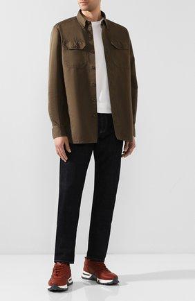 Мужская рубашка из смеси льна и хлопка TOM FORD хаки цвета, арт. 7FT769/94UDAN | Фото 2 (Рукава: Длинные; Длина (для топов): Стандартные; Материал внешний: Хлопок, Лен; Случай: Повседневный; Воротник: Button down; Принт: Однотонные; Мужское Кросс-КТ: Рубашка-одежда; Манжеты: На пуговицах)
