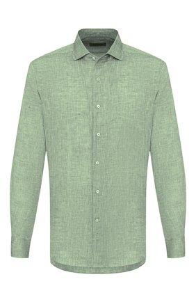 Мужская льняная рубашка CORNELIANI светло-зеленого цвета, арт. 85P156-0111091/00 | Фото 1