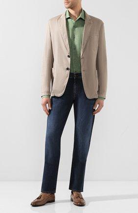 Мужская льняная рубашка CORNELIANI светло-зеленого цвета, арт. 85P156-0111091/00 | Фото 2