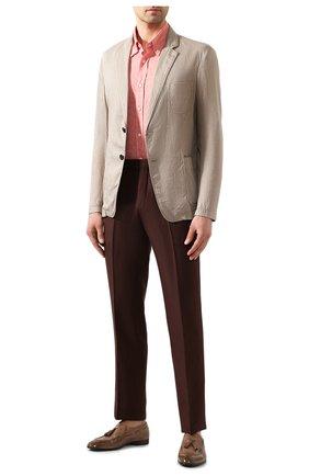 Мужская льняная рубашка BRUNELLO CUCINELLI красного цвета, арт. MB6080038 | Фото 2