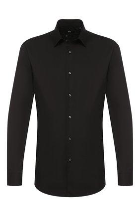 Мужская хлопковая сорочка BOSS черного цвета, арт. 50428470 | Фото 1