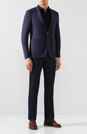 Мужская хлопковая рубашка ANDREA CAMPAGNA темно-синего цвета, арт. 60129/73700   Фото 2