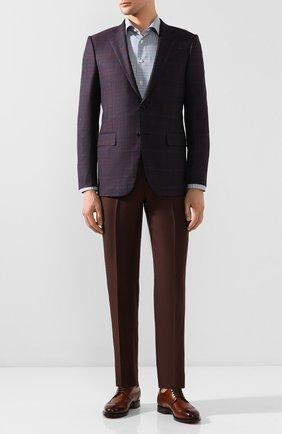 Мужская сорочка из смеси хлопка и льна ETON бирюзового цвета, арт. 1000 00765 | Фото 2