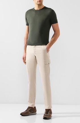 Мужские хлопковые брюки-карго ANDREA CAMPAGNA бежевого цвета, арт. SUB/PF0350X | Фото 2 (Материал внешний: Хлопок; Длина (брюки, джинсы): Стандартные; Силуэт М (брюки): Карго; Случай: Повседневный; Стили: Кэжуэл)