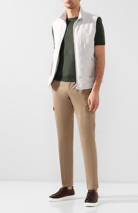 Мужские хлопковые брюки-карго ANDREA CAMPAGNA темно-бежевого цвета, арт. SUB/PF0350X | Фото 2 (Материал внешний: Хлопок; Длина (брюки, джинсы): Стандартные; Силуэт М (брюки): Карго; Случай: Повседневный; Стили: Кэжуэл)