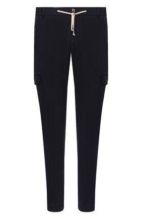 Мужские хлопковые брюки-карго ANDREA CAMPAGNA темно-синего цвета, арт. SUB/PF0350X | Фото 1 (Материал внешний: Хлопок; Длина (брюки, джинсы): Стандартные; Силуэт М (брюки): Карго; Случай: Повседневный; Стили: Кэжуэл)