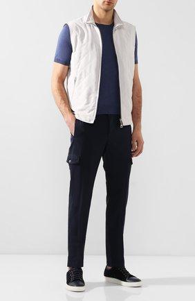 Мужские хлопковые брюки-карго ANDREA CAMPAGNA темно-синего цвета, арт. SUB/PF0350X | Фото 2 (Материал внешний: Хлопок; Длина (брюки, джинсы): Стандартные; Силуэт М (брюки): Карго; Случай: Повседневный; Стили: Кэжуэл)