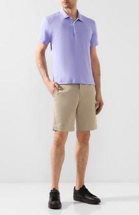 Мужское льняное поло FEDELI сиреневого цвета, арт. 3UED0150 | Фото 2