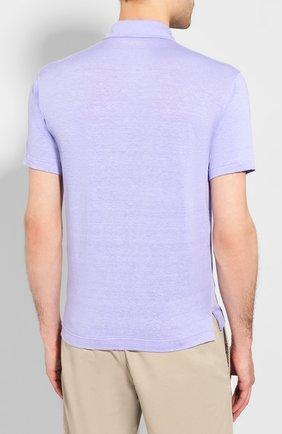Мужское льняное поло FEDELI сиреневого цвета, арт. 3UED0150   Фото 4 (Застежка: Пуговицы; Рукава: Короткие; Длина (для топов): Стандартные; Материал внешний: Лен)