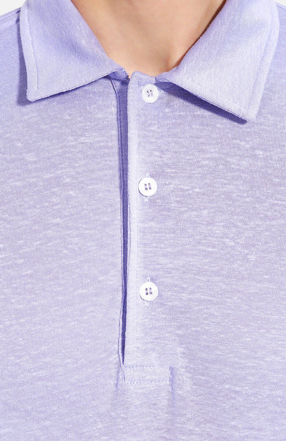Мужское льняное поло FEDELI сиреневого цвета, арт. 3UED0150   Фото 5 (Застежка: Пуговицы; Рукава: Короткие; Длина (для топов): Стандартные; Материал внешний: Лен)
