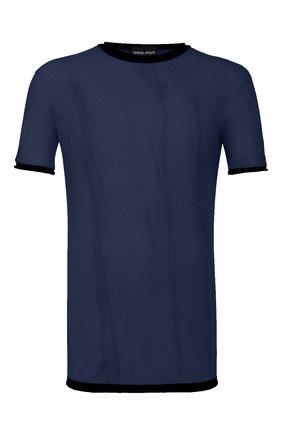 Мужская футболка из смеси хлопка и льна GIORGIO ARMANI темно-синего цвета, арт. 3HST58/SJZQZ | Фото 1 (Рукава: Короткие; Принт: Без принта; Материал внешний: Хлопок, Лен; Длина (для топов): Стандартные; Стили: Кэжуэл)
