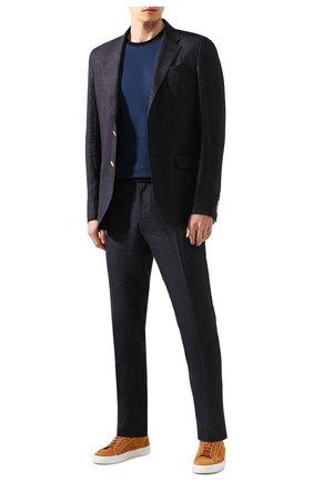 Мужская футболка из смеси хлопка и льна GIORGIO ARMANI темно-синего цвета, арт. 3HST58/SJZQZ | Фото 2 (Рукава: Короткие; Принт: Без принта; Материал внешний: Хлопок, Лен; Длина (для топов): Стандартные; Стили: Кэжуэл)