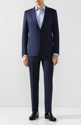 Мужская хлопковая сорочка BOSS голубого цвета, арт. 50428304 | Фото 2