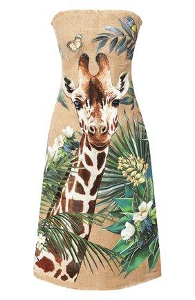 Женское льняное платье DOLCE & GABBANA бежевого цвета, арт. F6J0PT/FP4LU | Фото 1