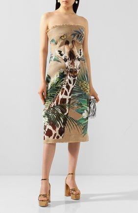 Женское льняное платье DOLCE & GABBANA бежевого цвета, арт. F6J0PT/FP4LU | Фото 2