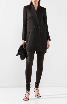 Женские кожаные леггинсы ISABEL BENENATO черного цвета, арт. DL11S20 | Фото 2