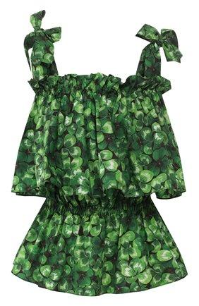 Женская хлопковый топ DOLCE & GABBANA зеленого цвета, арт. F72W7T/HS5GC | Фото 1