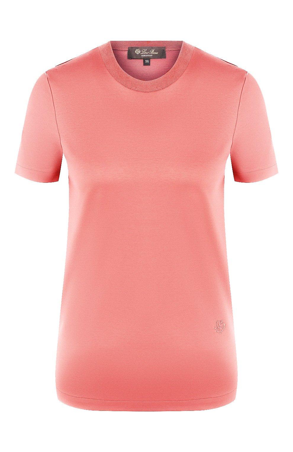 Женская хлопковая футболка LORO PIANA розового цвета, арт. FAI5069 | Фото 1