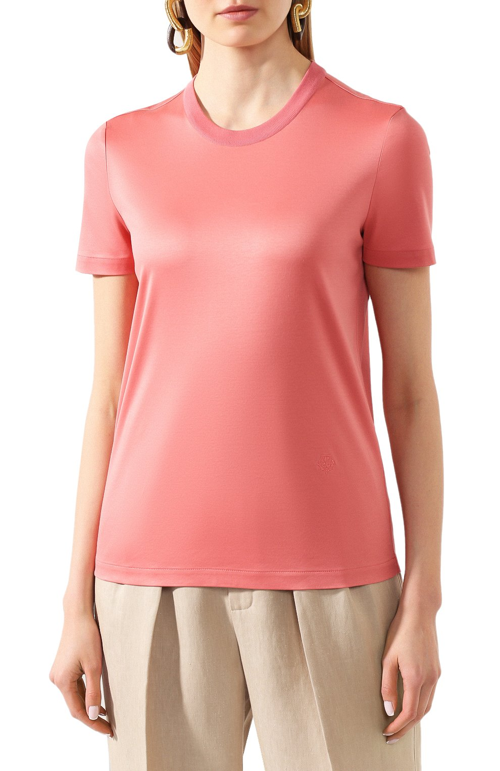 Женская хлопковая футболка LORO PIANA розового цвета, арт. FAI5069 | Фото 3