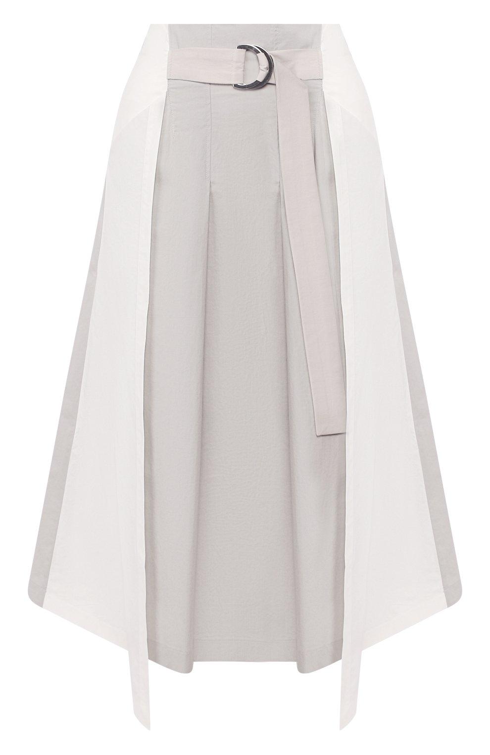 Женская хлопковая юбка LORENA ANTONIAZZI светло-серого цвета, арт. E2005G0016/3193 | Фото 1 (Женское Кросс-КТ: Юбка-одежда; Материал внешний: Хлопок; Длина Ж (юбки, платья, шорты): Миди)