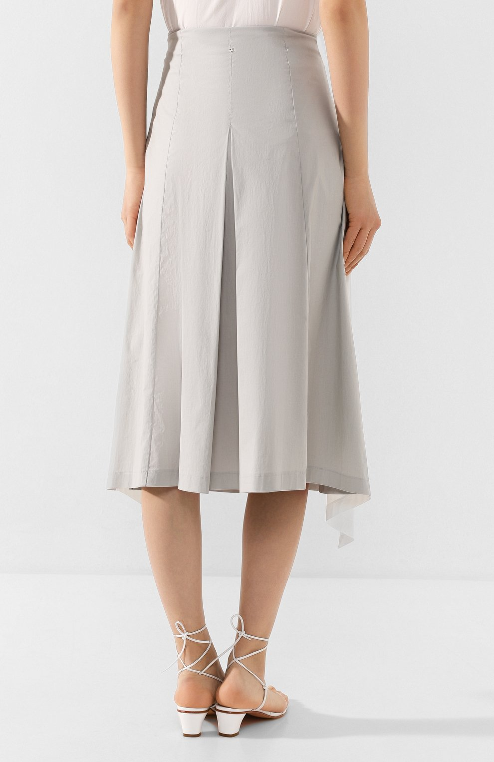 Женская хлопковая юбка LORENA ANTONIAZZI светло-серого цвета, арт. E2005G0016/3193 | Фото 4 (Женское Кросс-КТ: Юбка-одежда; Материал внешний: Хлопок; Длина Ж (юбки, платья, шорты): Миди)