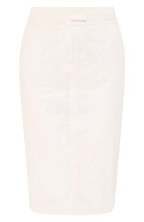 Женская кожаная юбка TOM FORD белого цвета, арт. GCL803-LEX251 | Фото 1