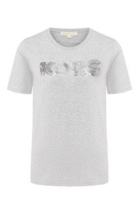 Женская хлопковая футболка MICHAEL MICHAEL KORS серого цвета, арт. MH95MB897J | Фото 1