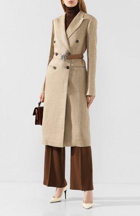 Женское льняное пальто VICTORIA BECKHAM бежевого цвета, арт. 1120WCT000578C | Фото 2