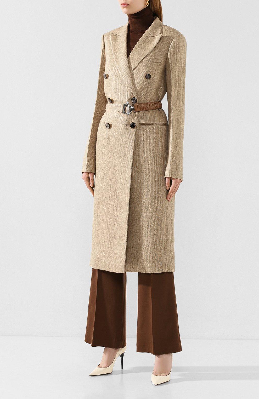 Женское льняное пальто VICTORIA BECKHAM бежевого цвета, арт. 1120WCT000578C | Фото 3
