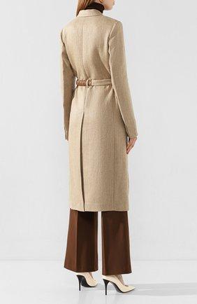 Женское льняное пальто VICTORIA BECKHAM бежевого цвета, арт. 1120WCT000578C | Фото 4