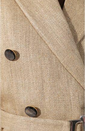 Женское льняное пальто VICTORIA BECKHAM бежевого цвета, арт. 1120WCT000578C | Фото 5