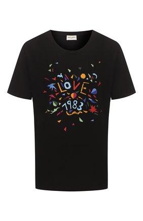 Женская хлопковая футболка SAINT LAURENT разноцветного цвета, арт. 614272/YBRS2 | Фото 1