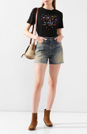 Женская хлопковая футболка SAINT LAURENT разноцветного цвета, арт. 614272/YBRS2 | Фото 2