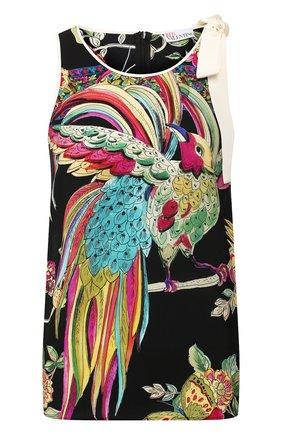 Женский шелковый топ REDVALENTINO черного цвета, арт. TR0AE0J0/519 | Фото 1