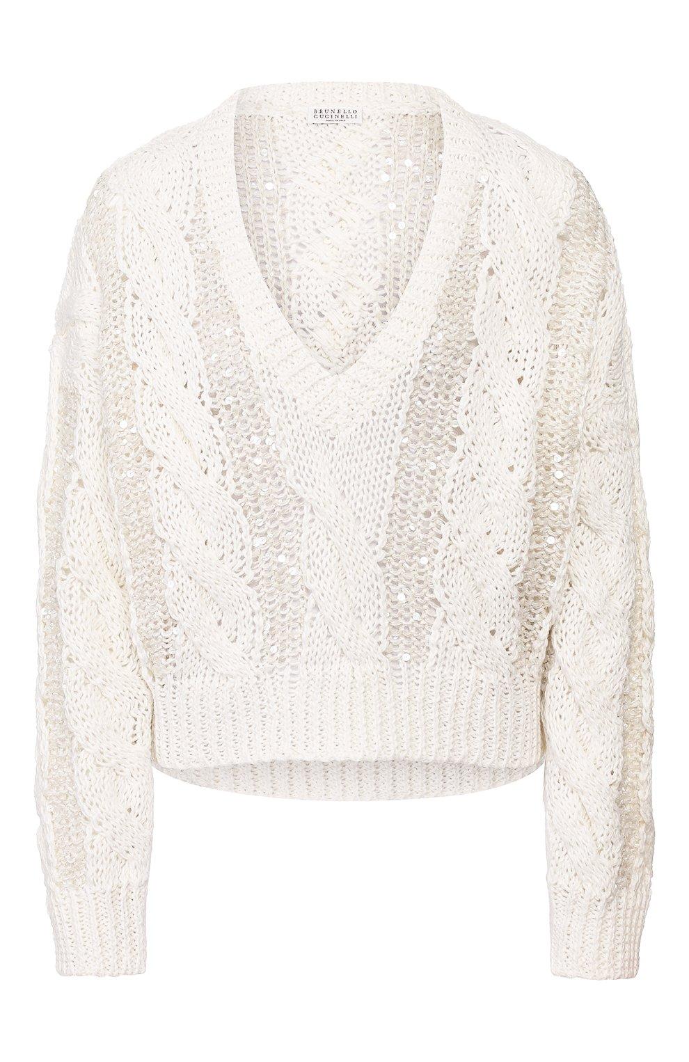 Женский пуловер BRUNELLO CUCINELLI белого цвета, арт. M3Y672002 | Фото 1